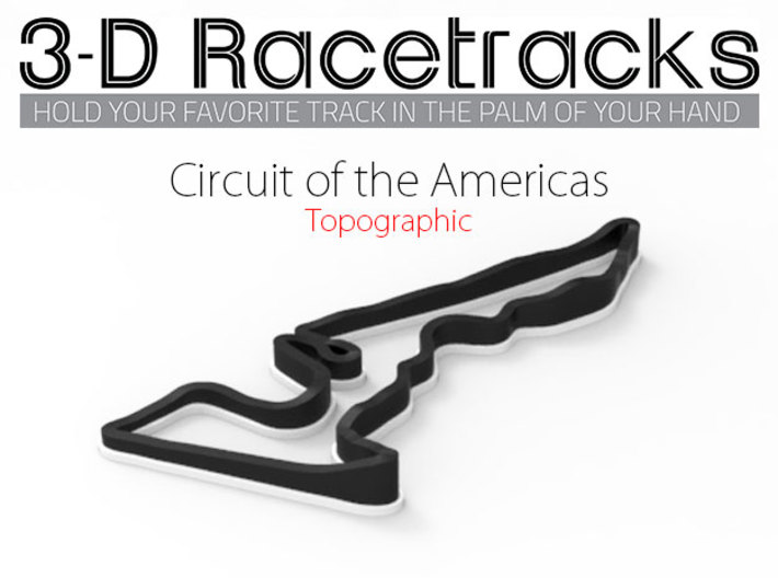 Circuit of the Americas | Topographic Small 3d printed Render in Full Color Sandstone