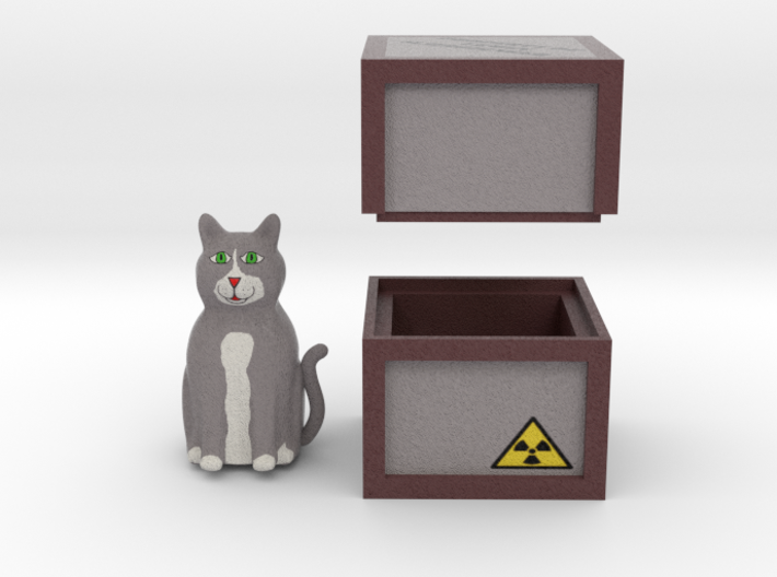 Schrödinger's Cat and Box 3d printed Render of Cat and Box