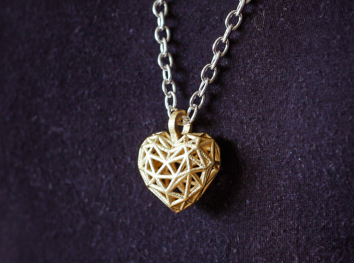 Heart Pendant - Wireframe 3d printed