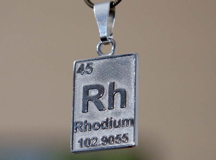 Rhodium Periodic Table Pendant 3d printed The element of Rhodium on a pendant, printer in Rhodium plated brass!