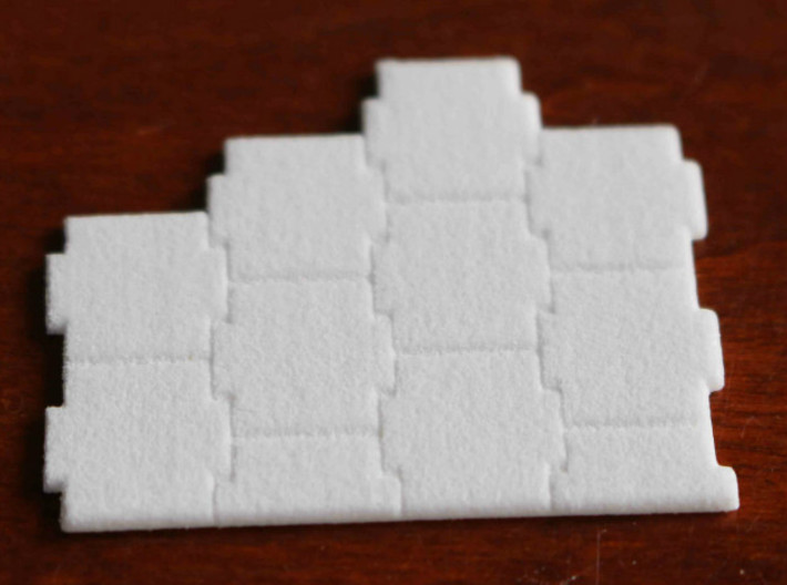 N Scale Terre Armee Sheet (Customizable) 3d printed Sample patch of the Terre Armee pattern sheet in Polished White Strong&Flexible.