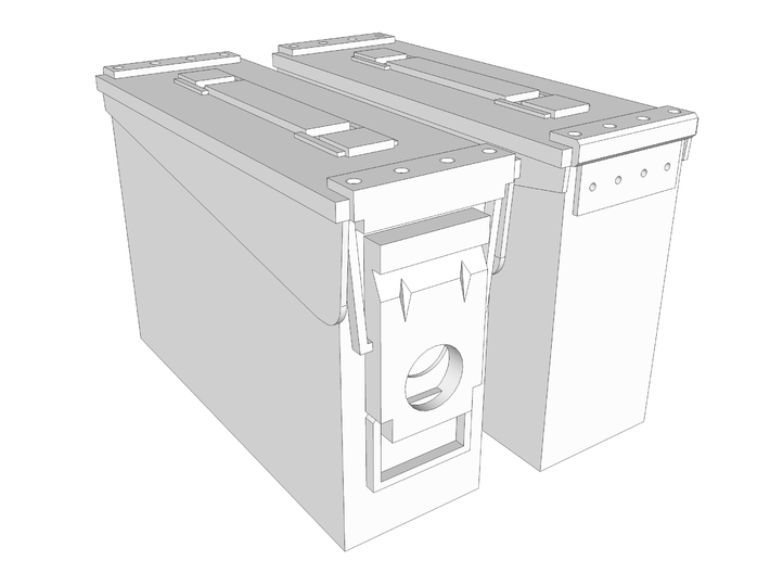 1:6 scale 30 cal ammo can box x2 3d printed