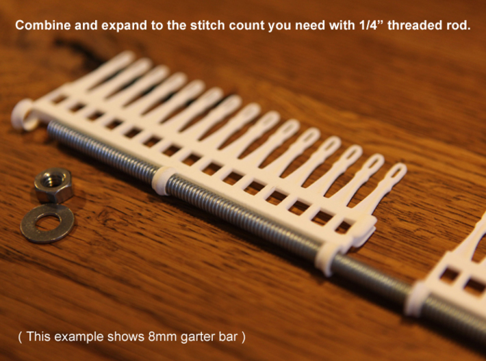"30 Tine Knitting Garter Bar X 2 - 9 mm V2.stl 3d printed Expand with 1/4"" threaded rod"