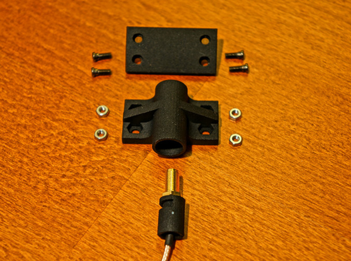 SRH-771 to Taranis X9D Antenna Holder 3d printed All the necessary Parts for Installation laid out - Antenna Extension Cable, Screws and Nuts are NOT part of the Purchase!