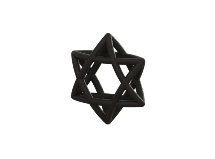 "Star Of David Pendant 3d printed ""Star of david"" Black strong & flexible (renderen)"