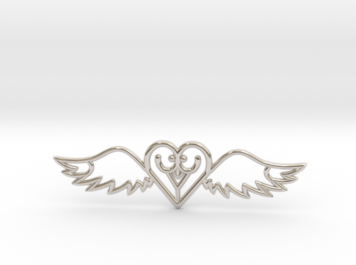 Flying Heart Necklace 3d printed