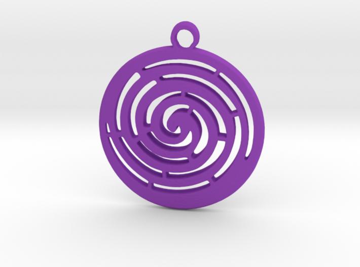 Spiral maze pendant 3d printed