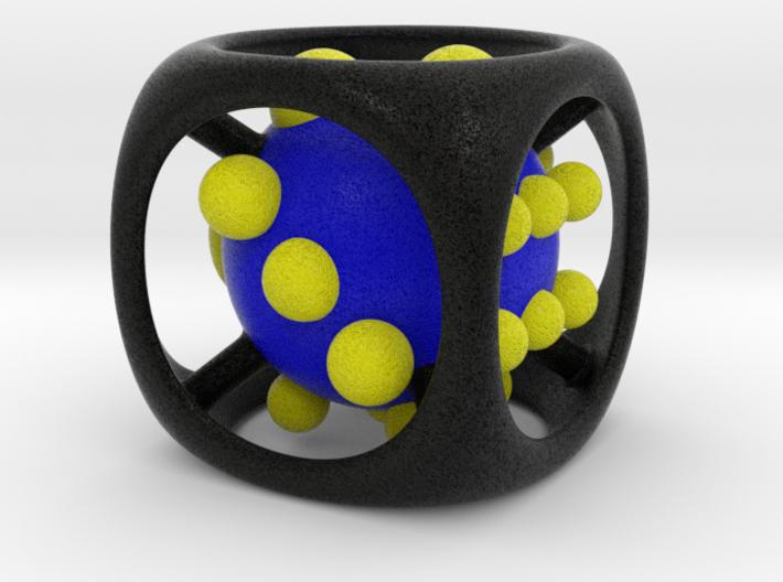 Dice No.1-c Blue M (balanced) (3.6cm/1.42in) 3d printed