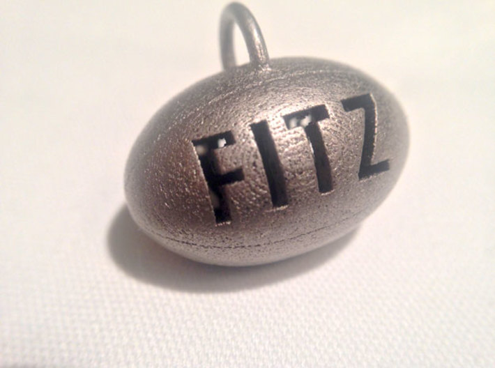 Personalize-able Rugby Ball Pendant 3d printed