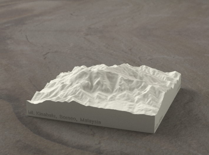 4''/10cm Mt. Kinabalu, Malaysia, Sandstone 3d printed Kinabalu from the South, summit is left of center