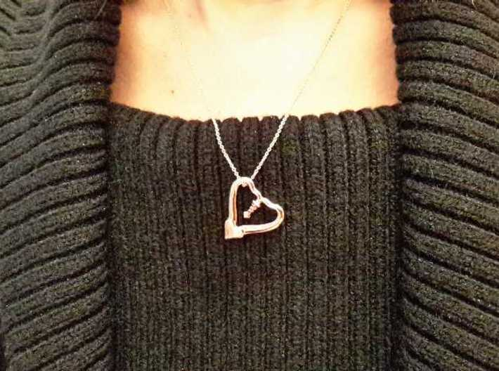 TWO HEARTS ONE LOVE 3d printed 14k Rose Gold Plated