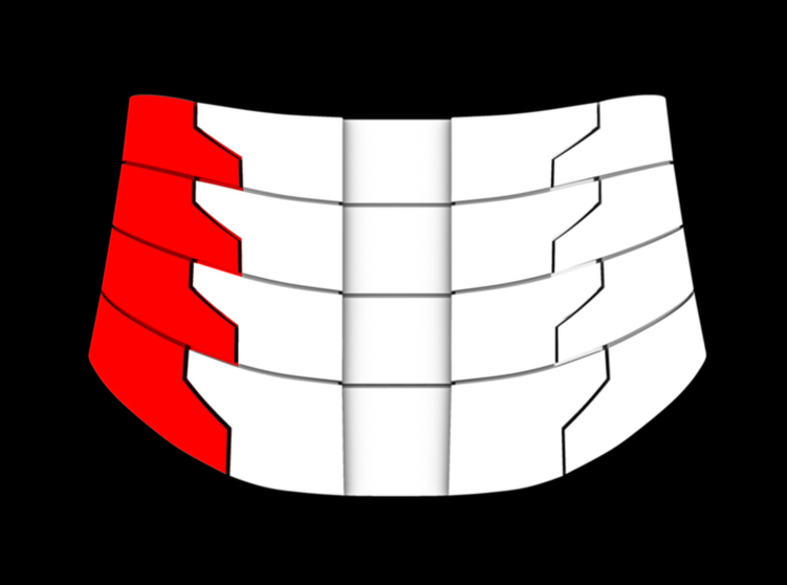 Iron Man Oblique Armor (Left Side) 3d printed Back (What's Highlighted in Red will be printed)