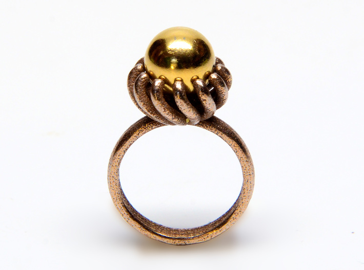 Magnetic Pearl Ring Size 7 3d printed ring shown in stainless steel