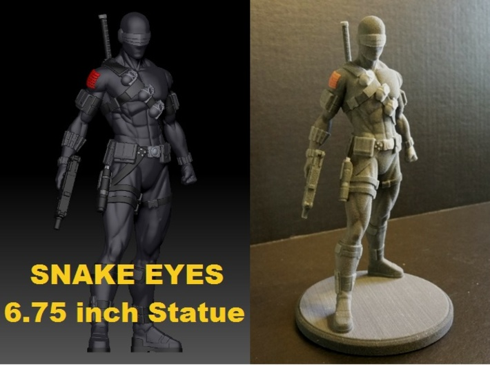 Snake Eyes of G.I. Joe 6.75 Inch Statue 3d printed Snake Eyes 6.75 inch Statue printed in Full Color Sandstone (No Painting Required)
