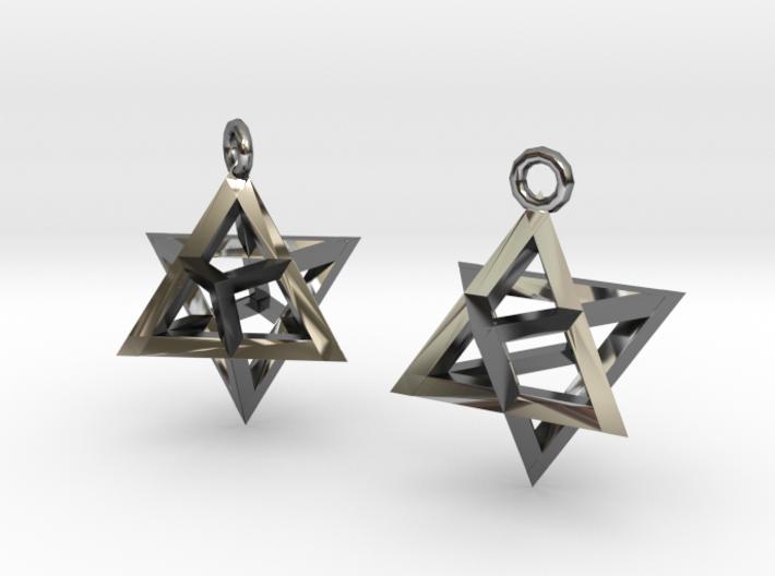 Star Tetrahedron earrings #Silver 3d printed