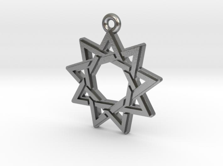 """Nonagram 3.0"" Pendant, Cast Metal 3d printed"