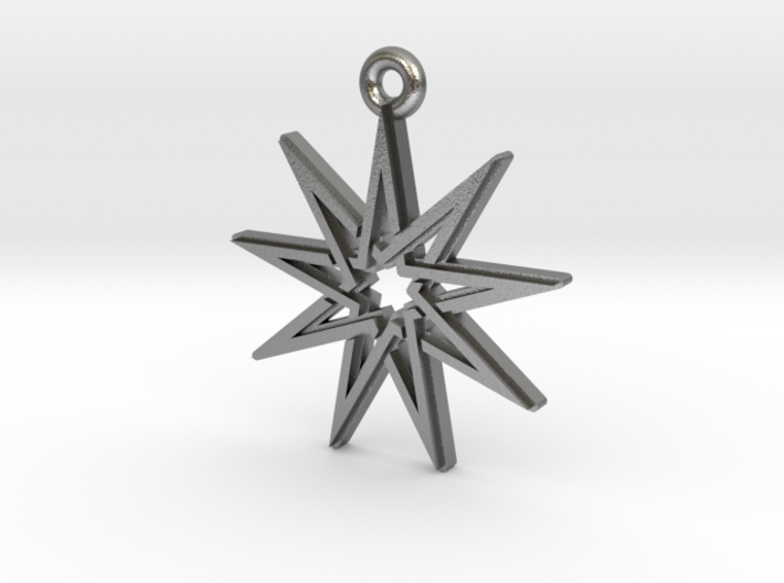 """Nonagram 4.1"" Pendant, Cast Metal 3d printed"