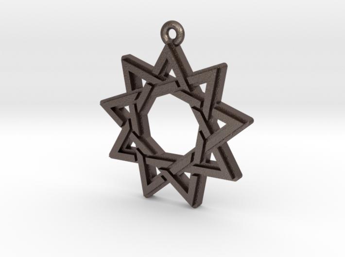 """""""Nonagram 3.0"""" Pendant, Printed Metal 3d printed"""