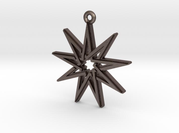 """""""Nonagram 4.1"""" Pendant, Printed Metal 3d printed"""