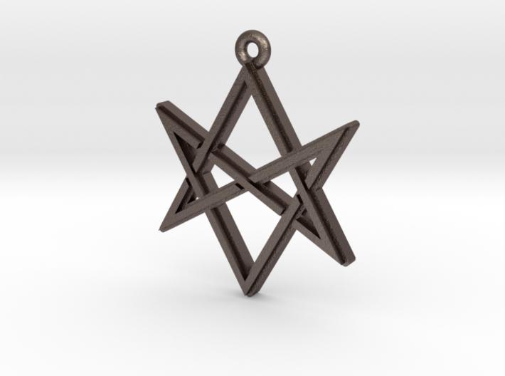 """Unicursal Hexagram"" Pendant, Printed Metal 3d printed"
