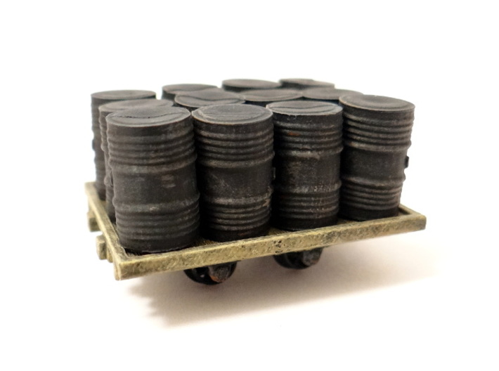 A.G.W.I. Oil Refinery Flat Wagons (x4) 3d printed A Detailed and Painted Wagon with Peco Oil Drums