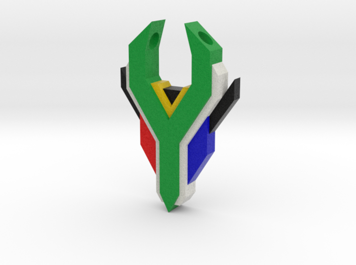 South Africa Springbok Flag Pendant: Flat Version 3d printed
