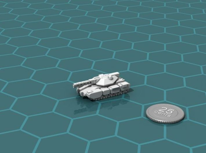 Colonial Main Battle Tank 3d printed Render of the model, with a virtual quarter for scale.