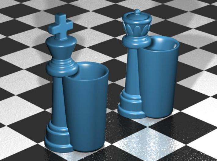 King & Queen Chess Pieces Shot Glasses-44mL/1.5oz 3d printed Gloss Blue  Porcelain