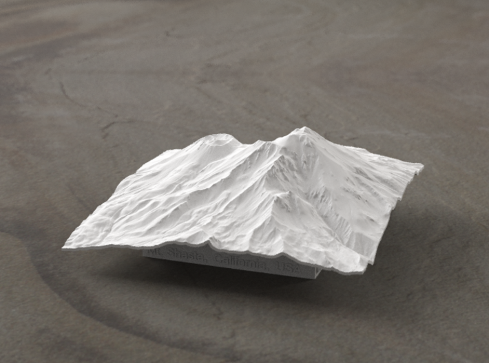4'' Mt. Shasta Terrain Model, California, USA 3d printed Radiance rendering