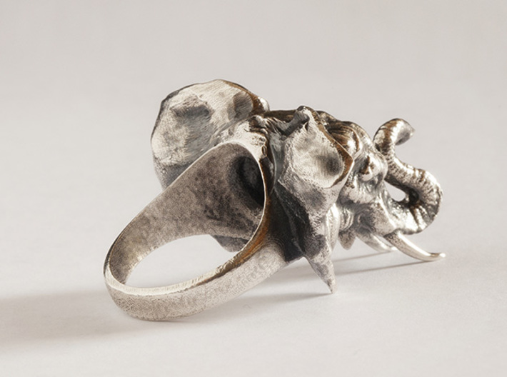 Elephant Ring 3d printed Raw silver blackened with liver of sulphur