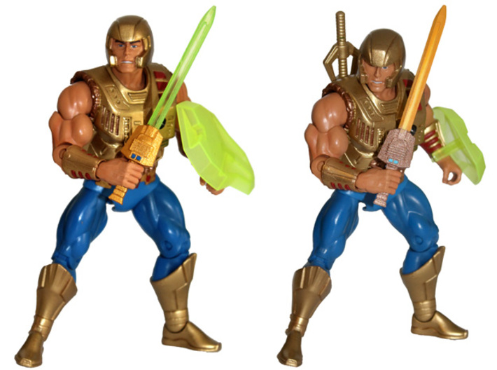 MOTUC Galactic Protector Electronic Powersword 3d printed Comparison between painted Prototypes printed in White Strong & Flexible Polished and Transparent Detail.