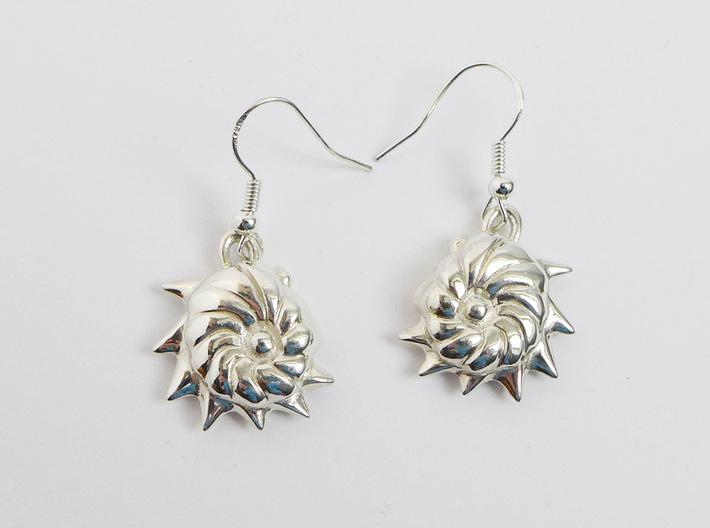 Cristellaria earrings 3d printed Cristellaria earrings in polished silver