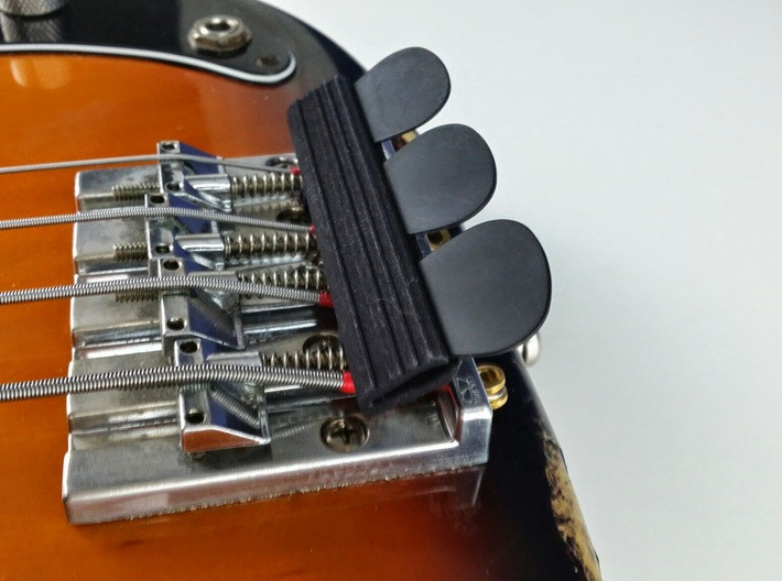 Bridge Pick Holder - Badass II Bridge - Lines 3d printed Black Strong & Flexible mounted on a BadAss II bridge on a Fender P-Bass