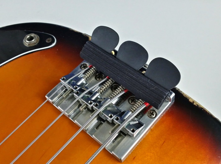 Bridge Pick Holder -fits Badass II Bridge - Lines 3d printed Black Strong & Flexible mounted on a BadAss II bridge on a Fender P-Bass