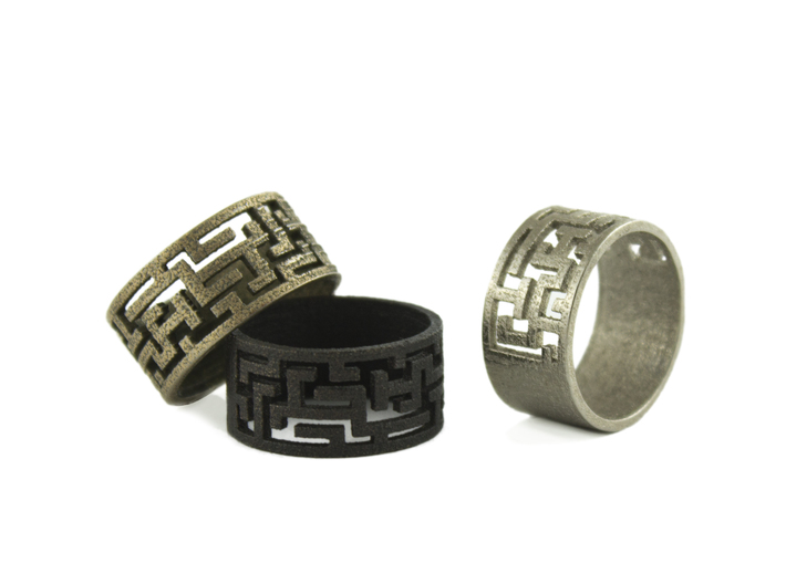 Maze Ring size US6 3d printed