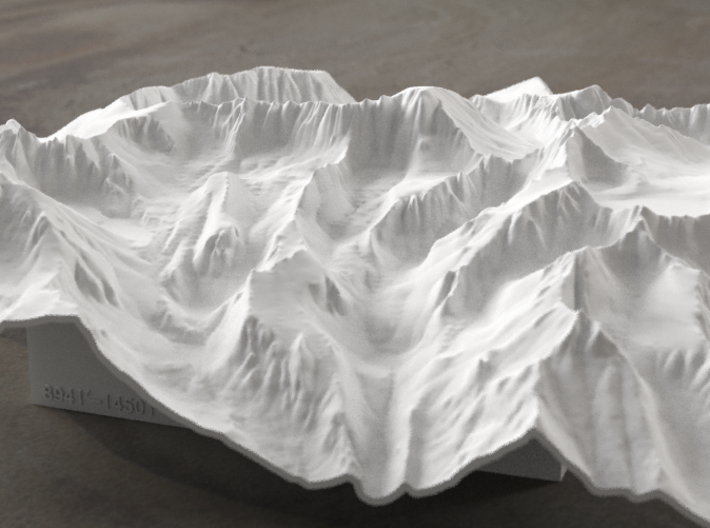 8'' Mt. Whitney Terrain Model, California, USA 3d printed Radiance rendering