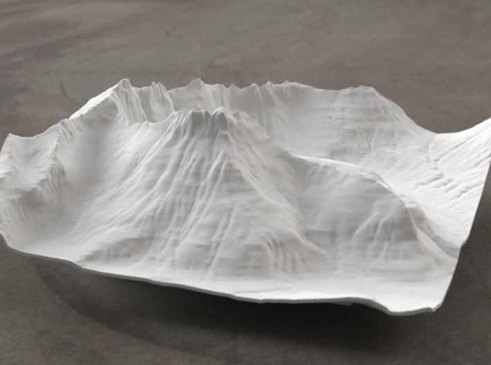 6'' Mt. Wilbur Terrain Model, Montana, USA 3d printed Radiance rendering