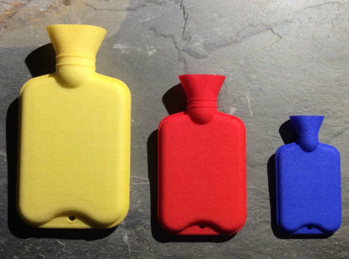 Hot Water Bottle Mini Bead 3d printed Hot Water Bottle Large (left), Hot Water Bottle Regular (middle), Hot Water Bottle Mini Bead (right)