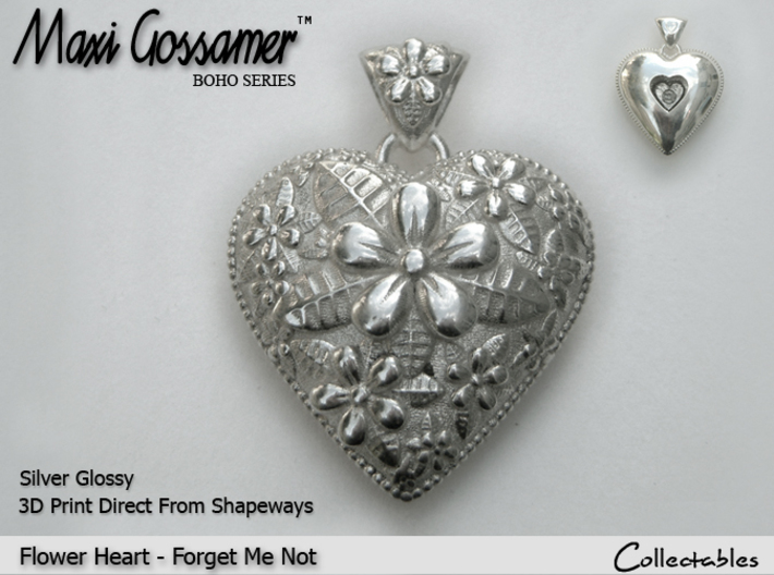 Flower Heart Pendant - Forget-Me-Not 3d printed