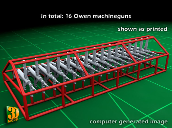 OWEN GUN (16x) 3d printed Owen gun set - as printed