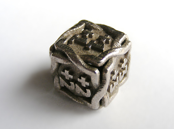 'Twined' Dice D6 MTG +1/+1 Counters die 3d printed The die printed n stainless steel