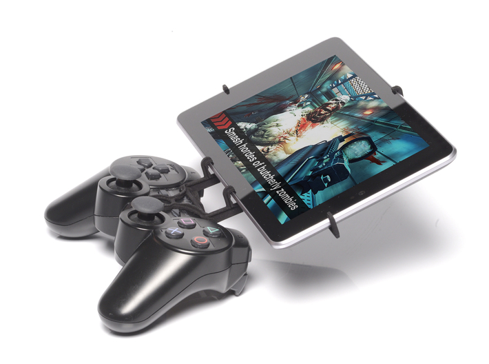 PS3 controller & Maxwest Nitro Phablet 71 3d printed Side View - A Nexus 7 and a black PS3 controller