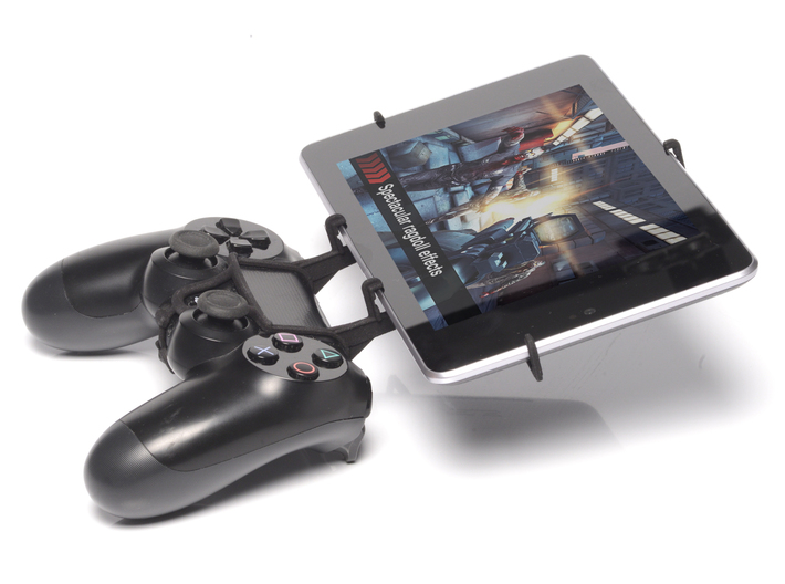 PS4 controller & Micromax Canvas Tab P470 - Front  3d printed Side View - A Nexus 7 and a black PS4 controller