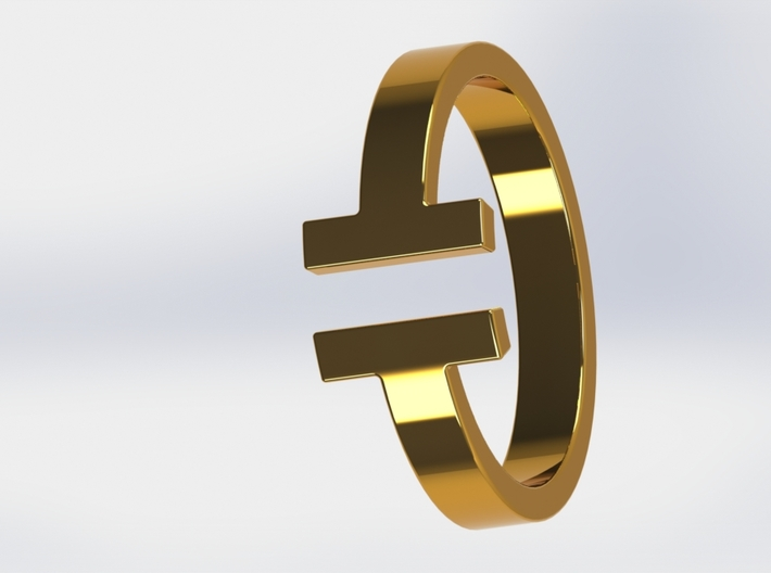 IT Ring 3d printed Gold Render