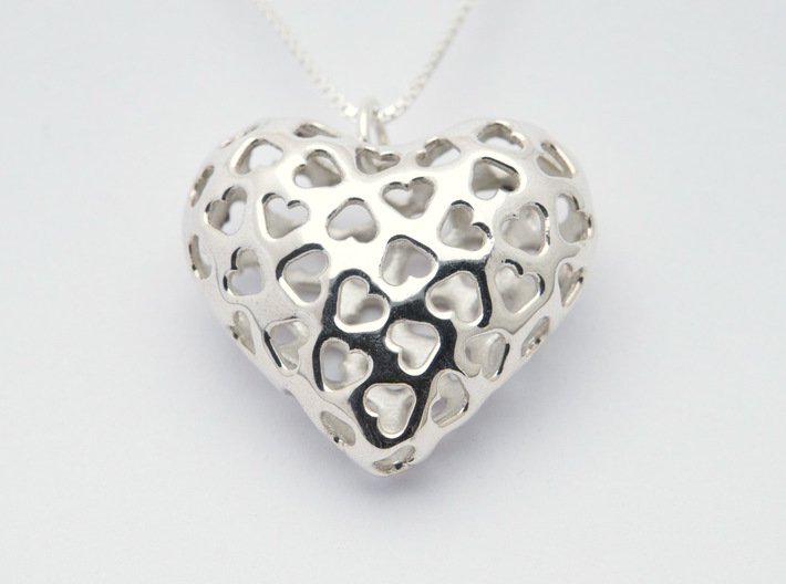 Small hearts, Big love (from $15) 3d printed Polished Silver