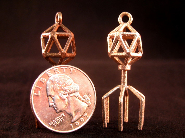 Bacteriophage Virus Pendant 3d printed Matte Bronze Steel and Stainless Steel with US quarter for scale