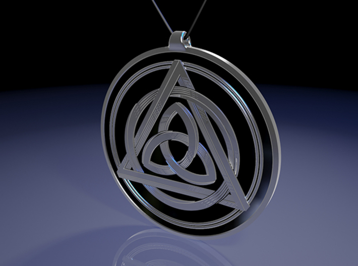 Doublesided Celtic Knot Pendant ~ 44mm(1 3/4 inch) 3d printed Rear view raytraced render simulates black enamel to enhance the silver embossed design