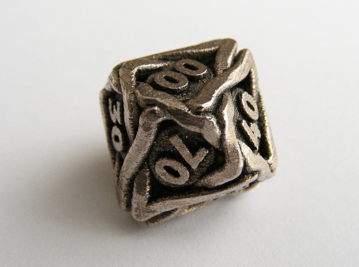 'Twined' Dice 10D10 (Decader) Gaming Die 3d printed