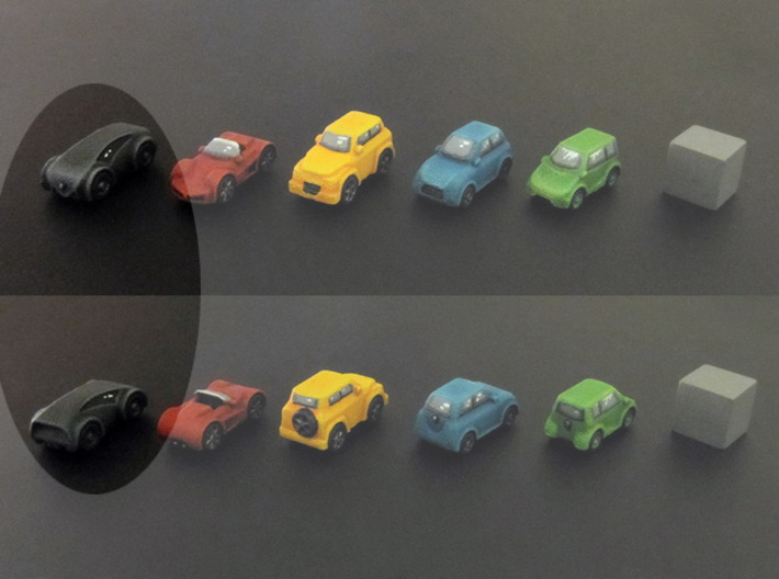 Miniature cars, Concept car (8pcs) 3d printed Hand-painted car. 10mm cube on the right for scale.