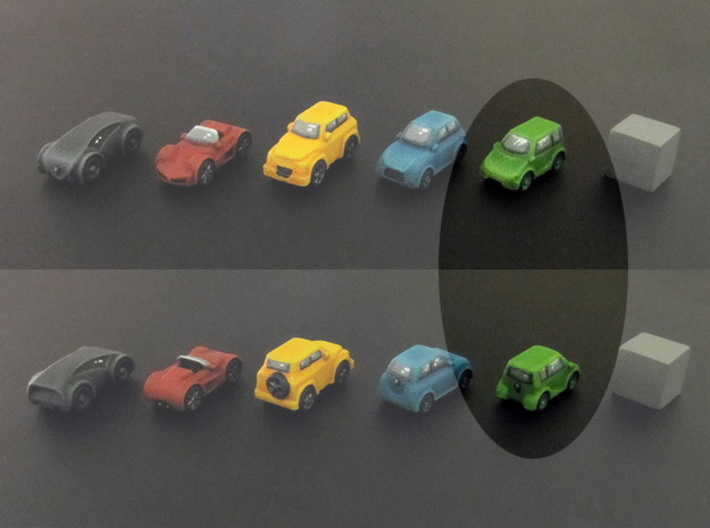 Miniature cars, Mini-car (8pcs) 3d printed Hand-painted car. 10mm cube on the right for scale.